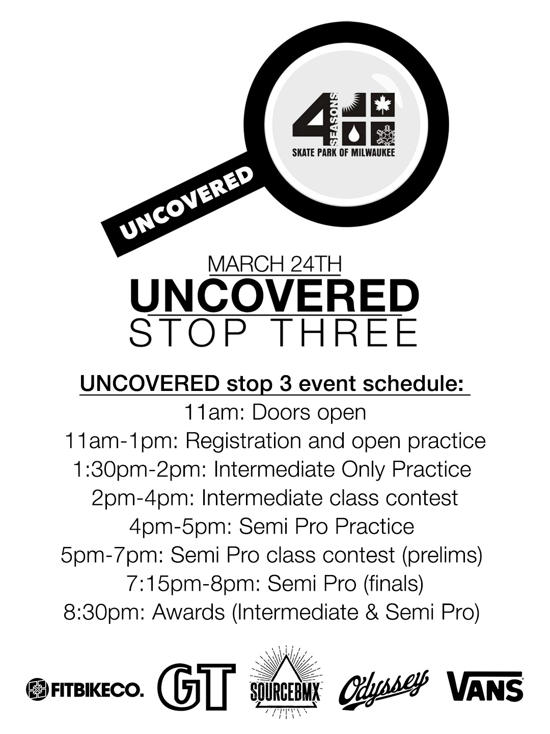 Milwaukee 4 Seasons Skatepark Uncovered Contest Schedule